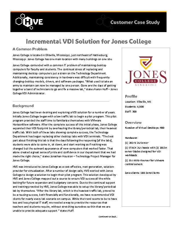 Incremental VDI Solution for Jones College
